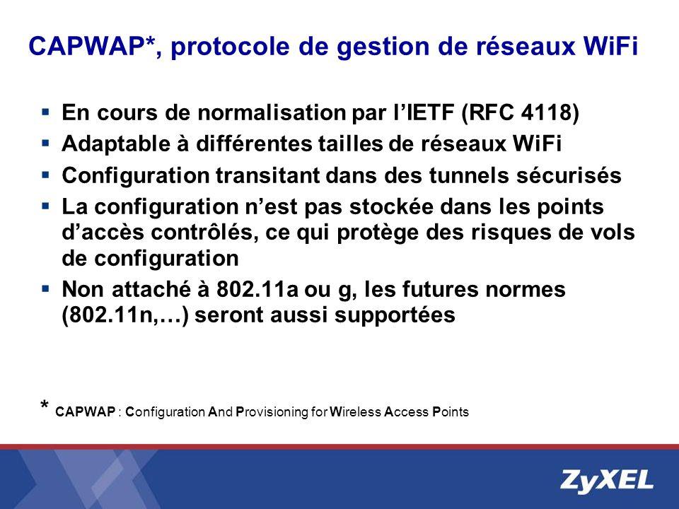 CAPWAP*, protocole de gestion de réseaux WiFi