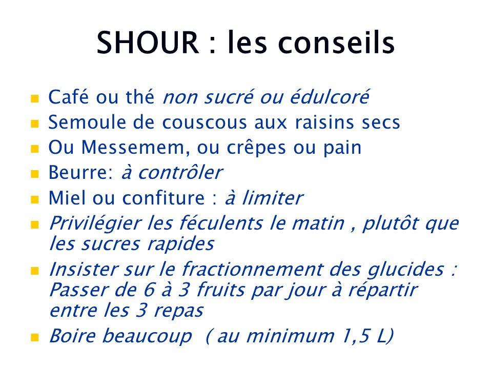 SHOUR : les conseils Café ou thé non sucré ou édulcoré