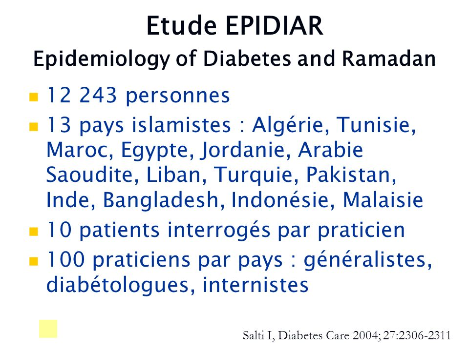Etude EPIDIAR Epidemiology of Diabetes and Ramadan