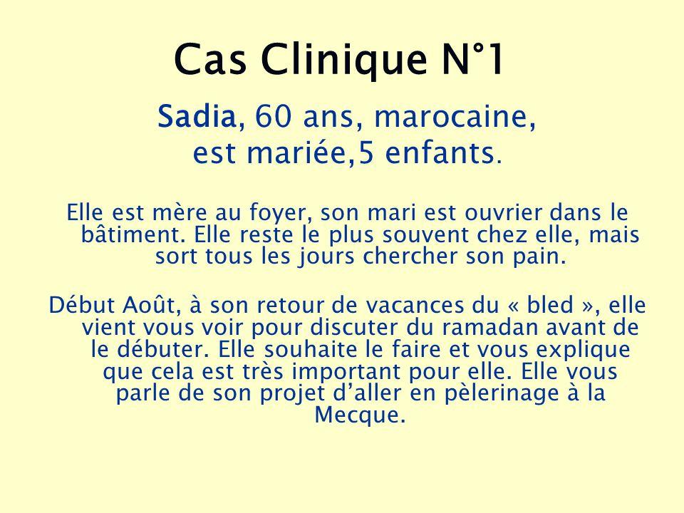 Cas Clinique N°1 Sadia, 60 ans, marocaine, est mariée,5 enfants.