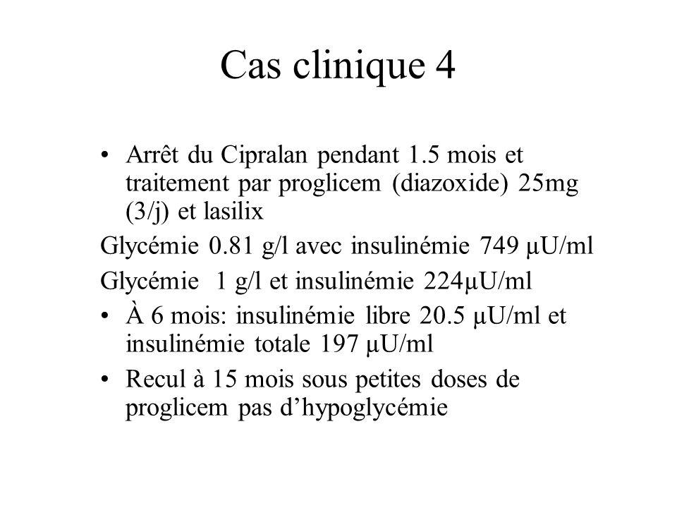 Cas clinique 4 Arrêt du Cipralan pendant 1.5 mois et traitement par proglicem (diazoxide) 25mg (3/j) et lasilix.