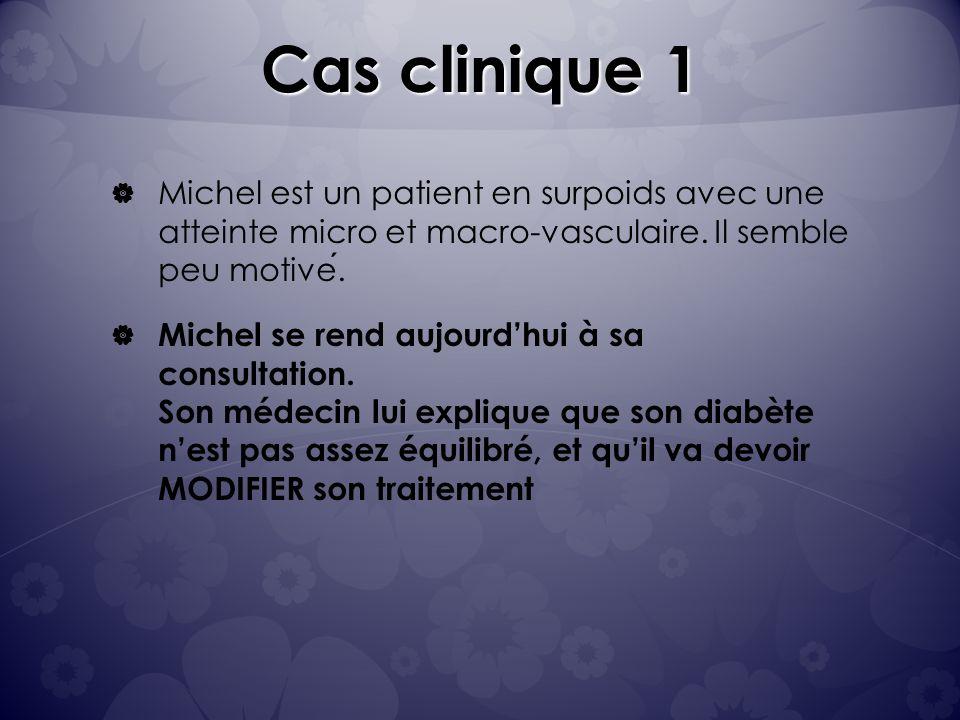 Cas clinique 1 Michel est un patient en surpoids avec une atteinte micro et macro-vasculaire. Il semble peu motivé.