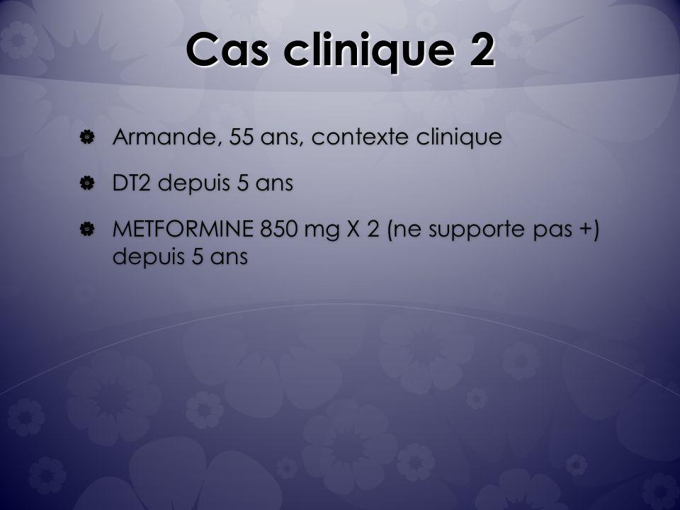 Cas clinique 2 Armande, 55 ans, contexte clinique DT2 depuis 5 ans