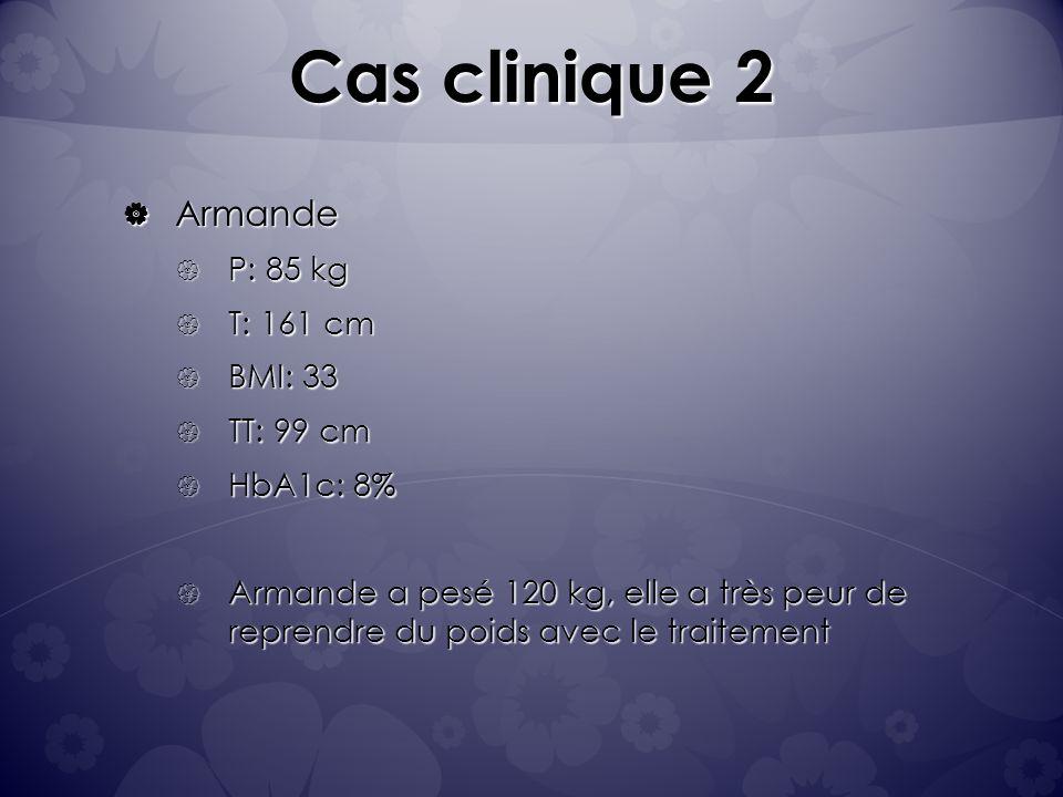 Cas clinique 2 Armande P: 85 kg T: 161 cm BMI: 33 TT: 99 cm HbA1c: 8%