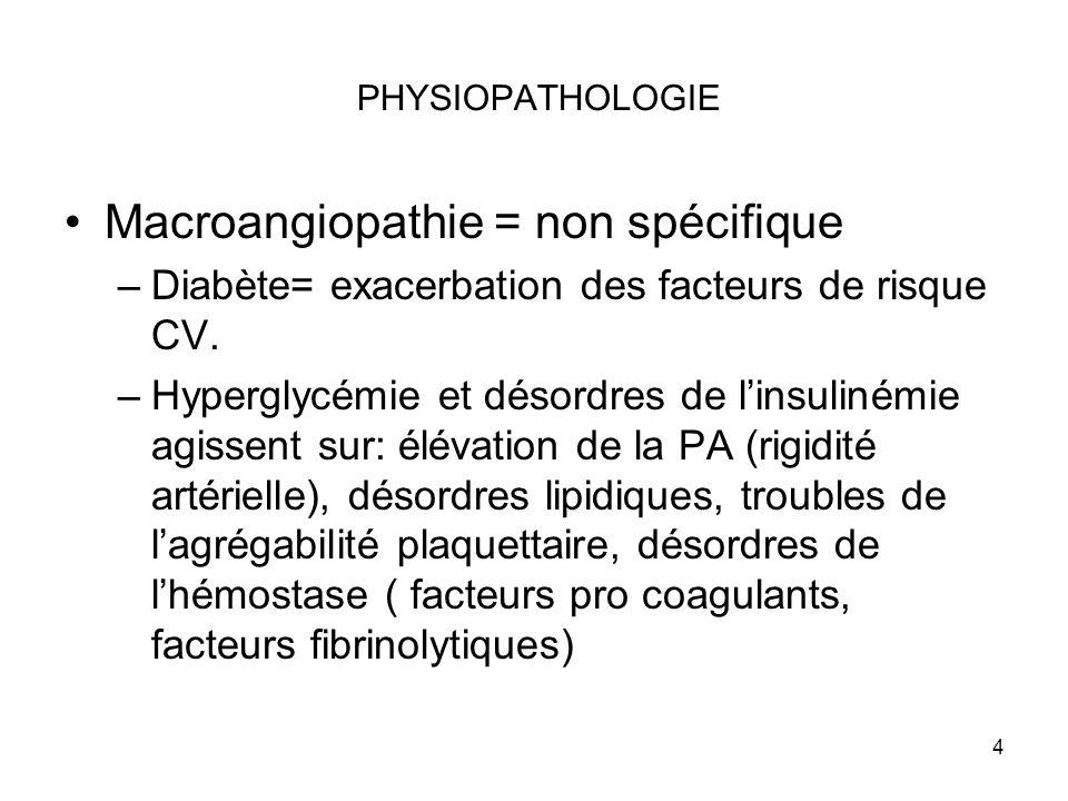 Macroangiopathie = non spécifique
