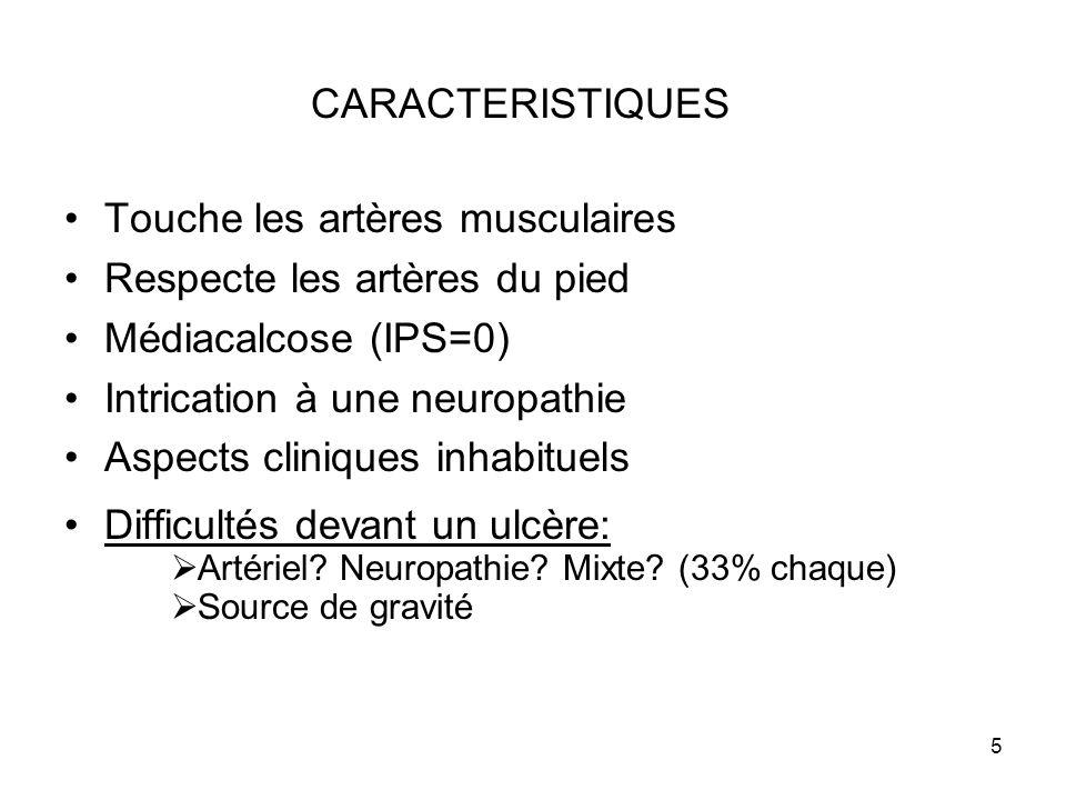 Touche les artères musculaires Respecte les artères du pied