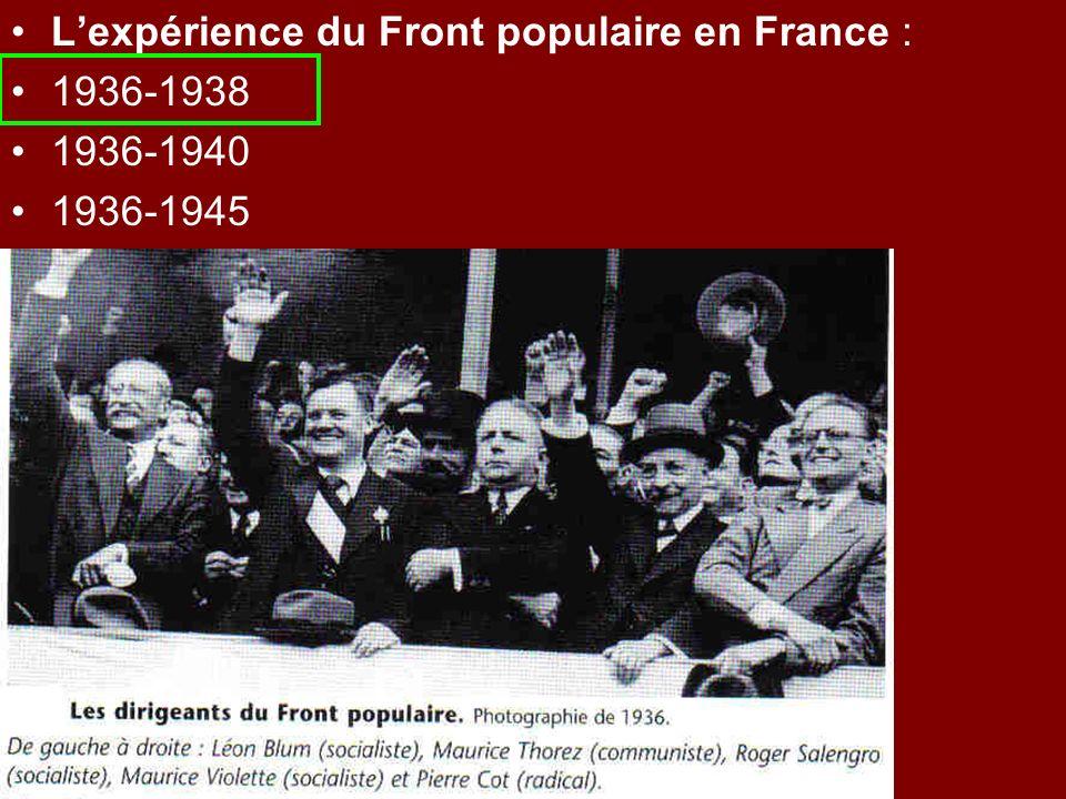 L'expérience du Front populaire en France :