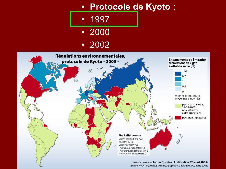 Protocole de Kyoto : 1997 2000 2002