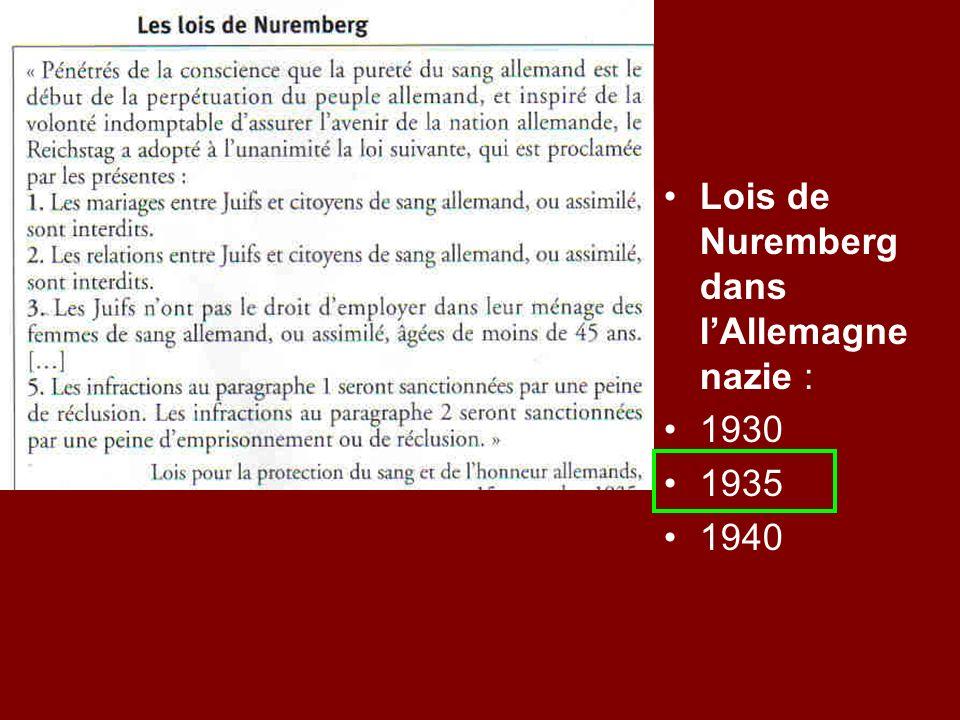 Lois de Nuremberg dans l'Allemagne nazie :