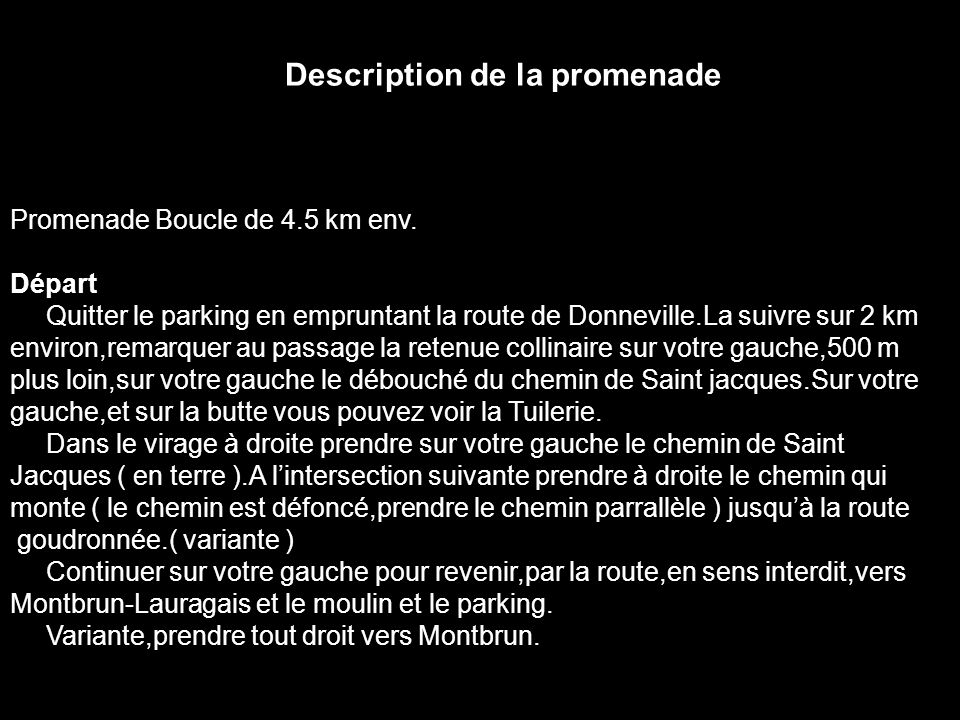 Description de la promenade