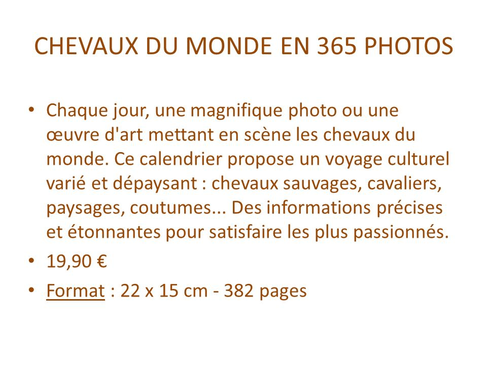 CHEVAUX DU MONDE EN 365 PHOTOS