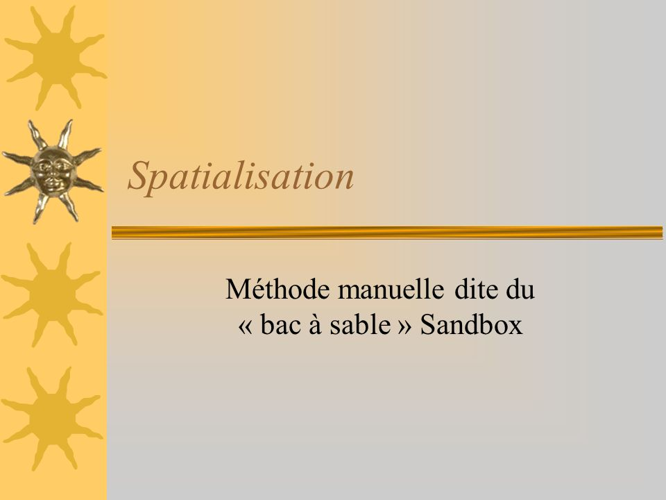 Méthode manuelle dite du « bac à sable » Sandbox