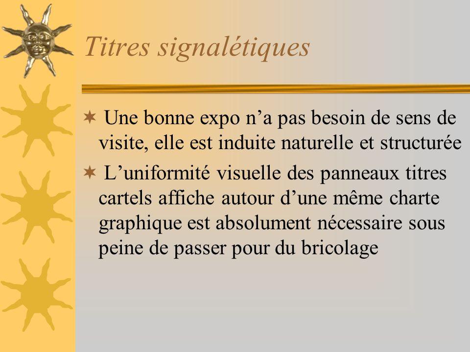 Titres signalétiquesUne bonne expo n'a pas besoin de sens de visite, elle est induite naturelle et structurée.