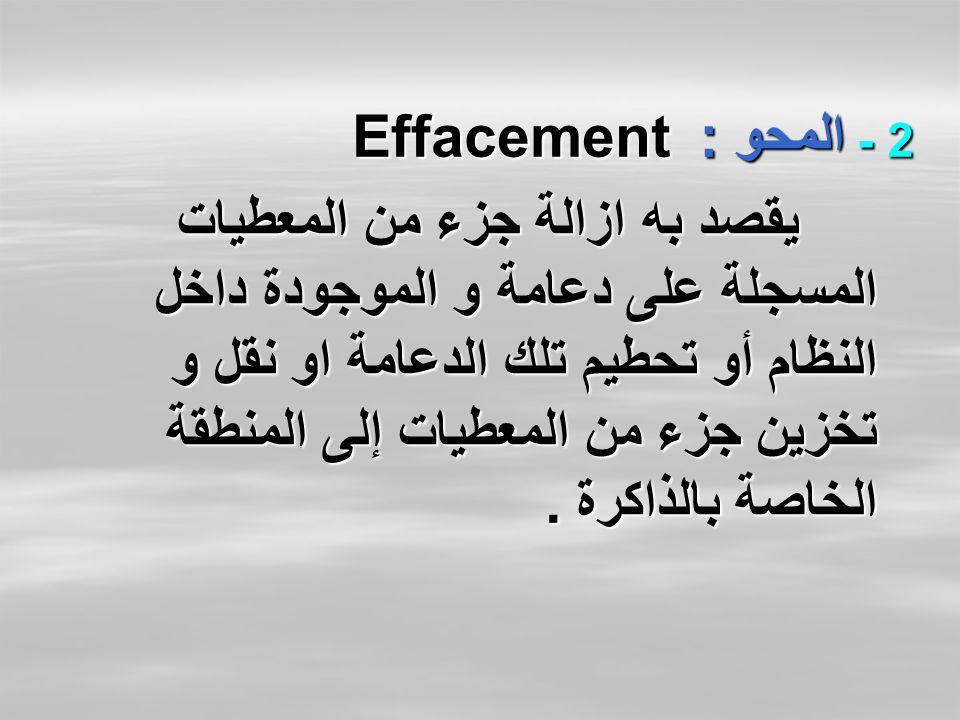 2 - المحو : Effacement