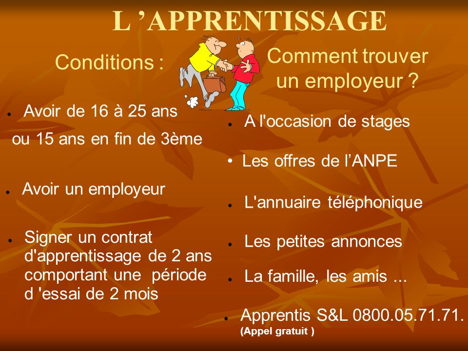 L 'APPRENTISSAGE Comment trouver Conditions : un employeur