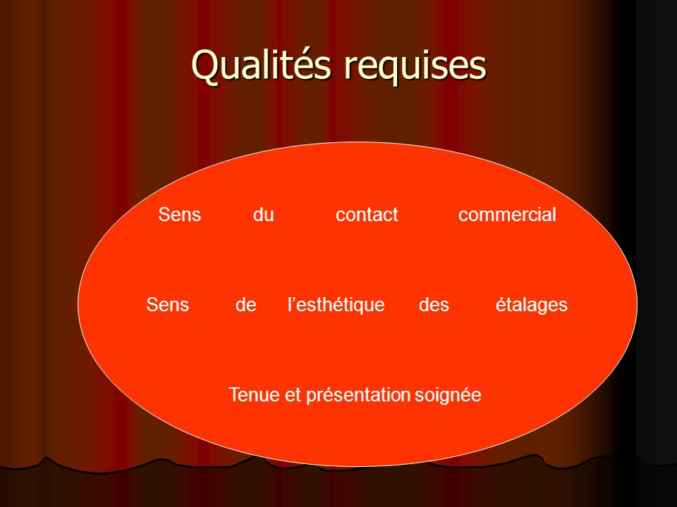 Qualités requises Sens du contact commercial