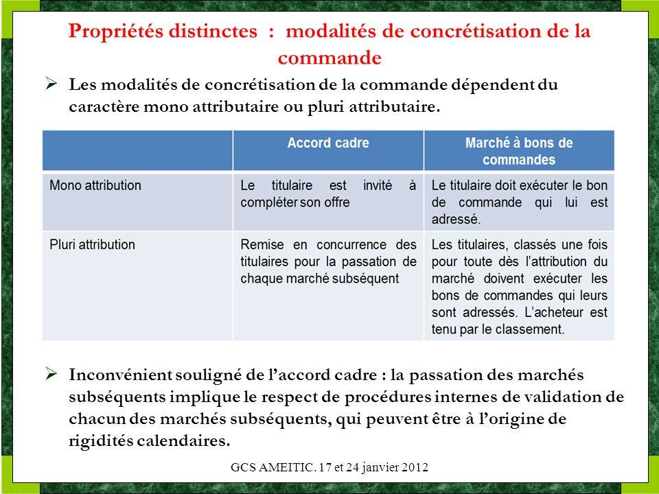 Propriétés distinctes : modalités de concrétisation de la commande