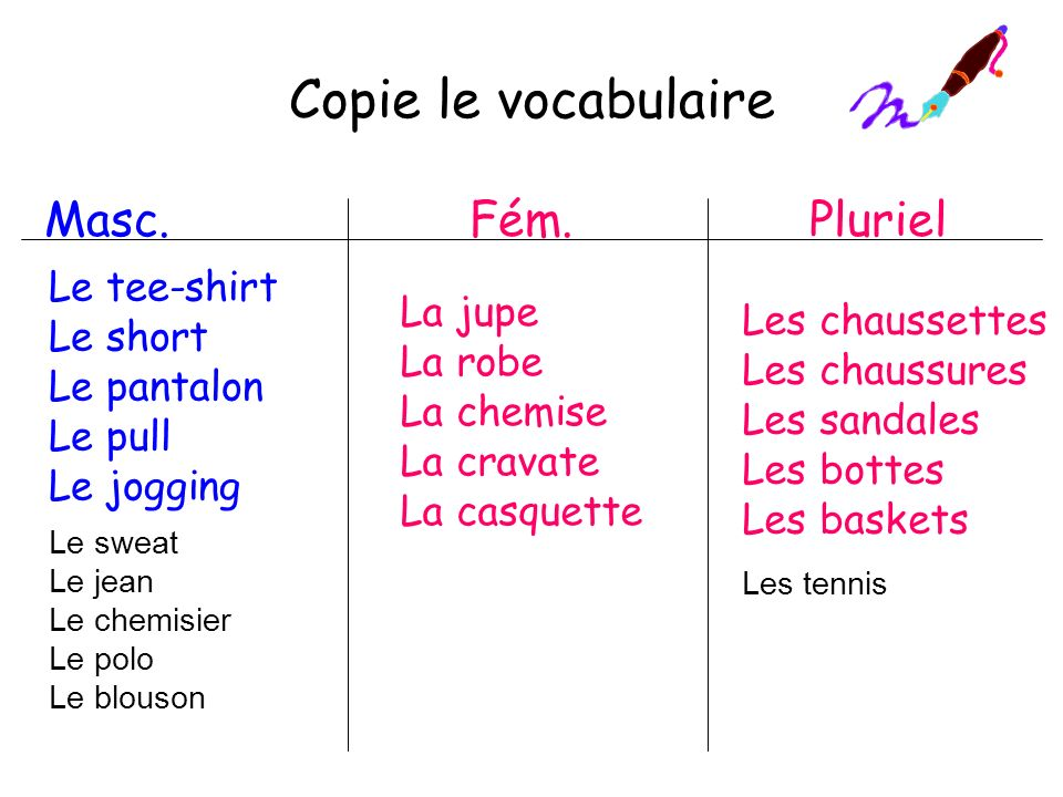 Copie le vocabulaire Masc. Fém. Pluriel Le tee-shirt Le short