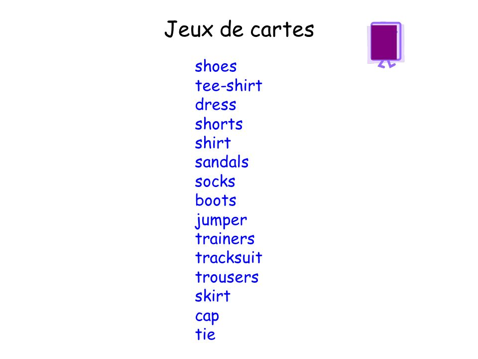 Jeux de cartes shoes tee-shirt dress shorts shirt sandals socks boots