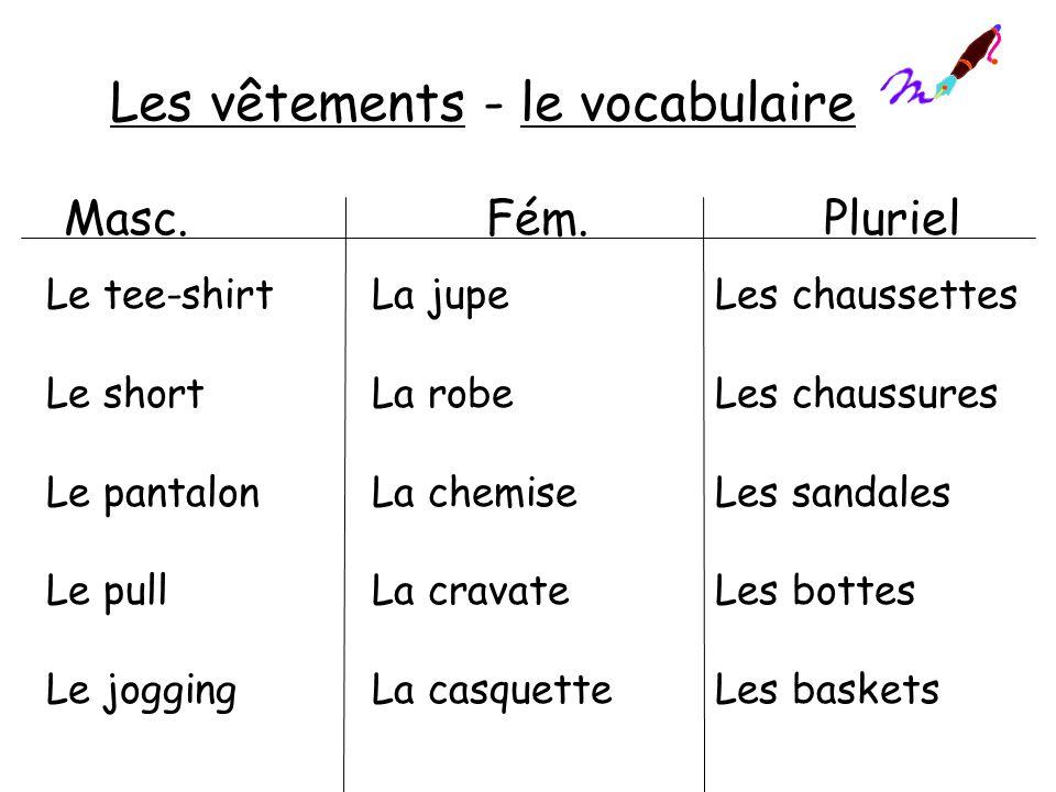 Les vêtements - le vocabulaire