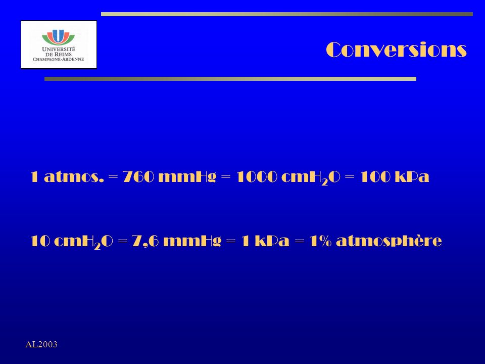 Conversions 1 atmos. = 760 mmHg = 1000 cmH2O = 100 kPa