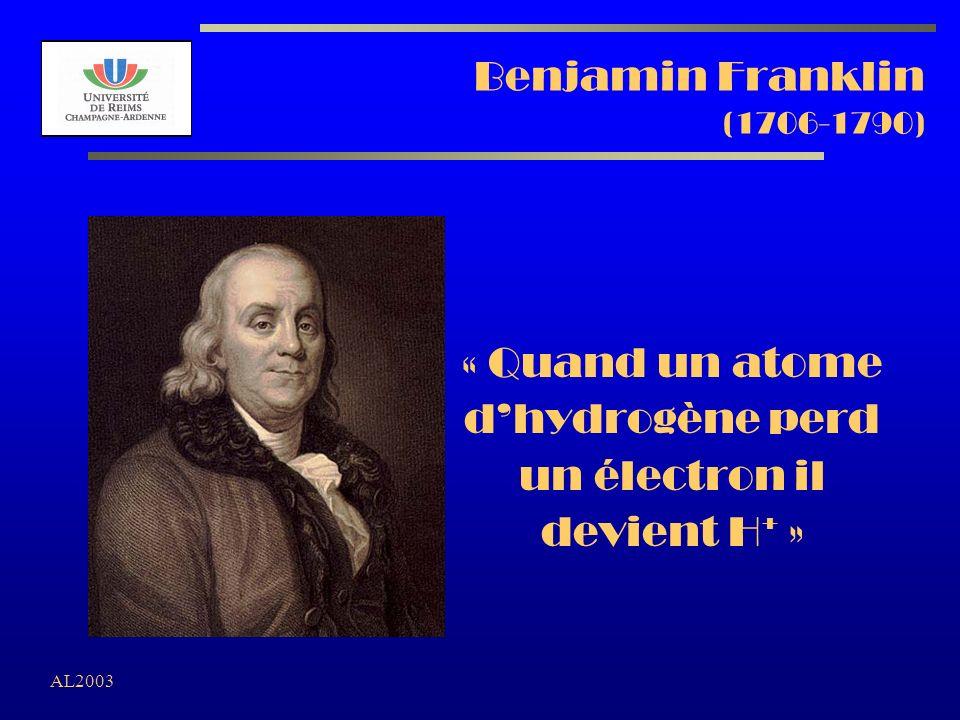 Benjamin Franklin (1706-1790) « Quand un atome d'hydrogène perd