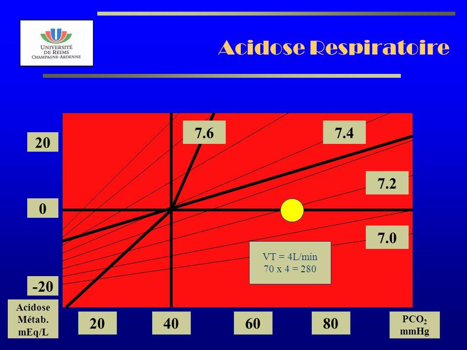Acidose Respiratoire 7.6 7.4 20 7.2 7.0 -20 20 40 60 80 VT = 4L/min