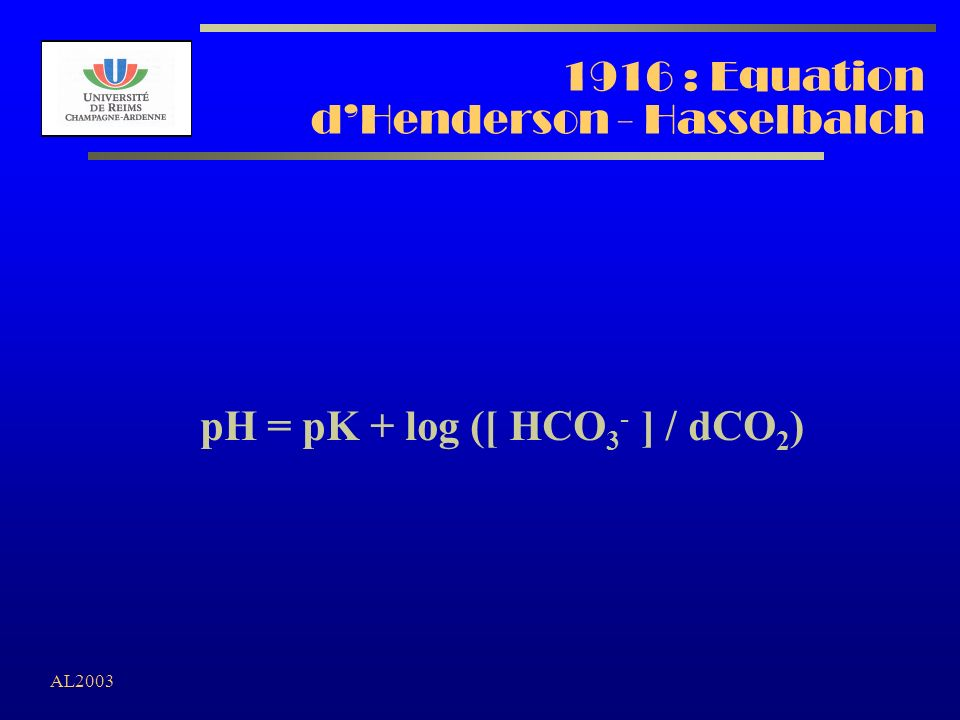 1916 : Equation d'Henderson - Hasselbalch