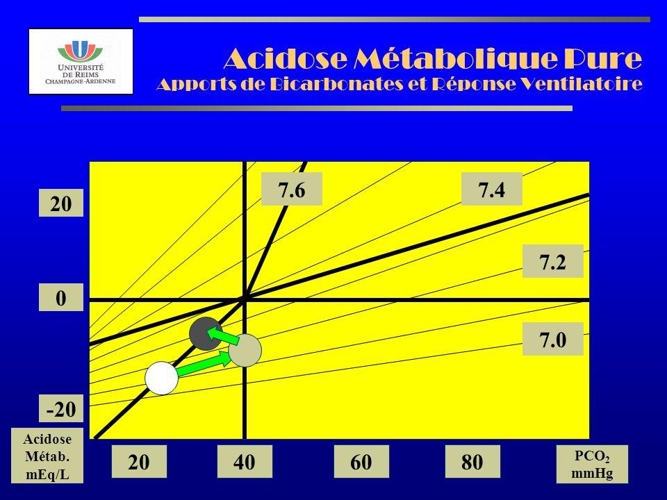 Acidose Métabolique Pure Apports de Bicarbonates et Réponse Ventilatoire