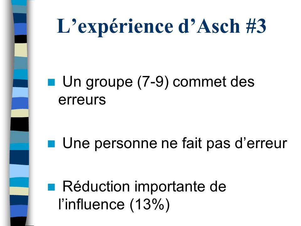 L'expérience d'Asch #3 Un groupe (7-9) commet des erreurs