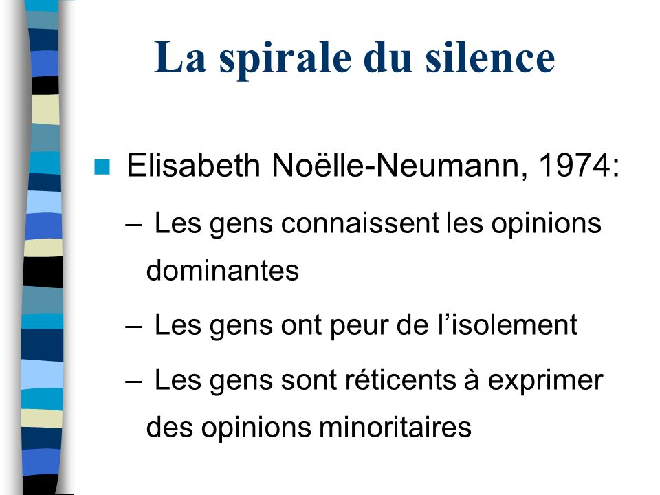 La spirale du silence Elisabeth Noëlle-Neumann, 1974: