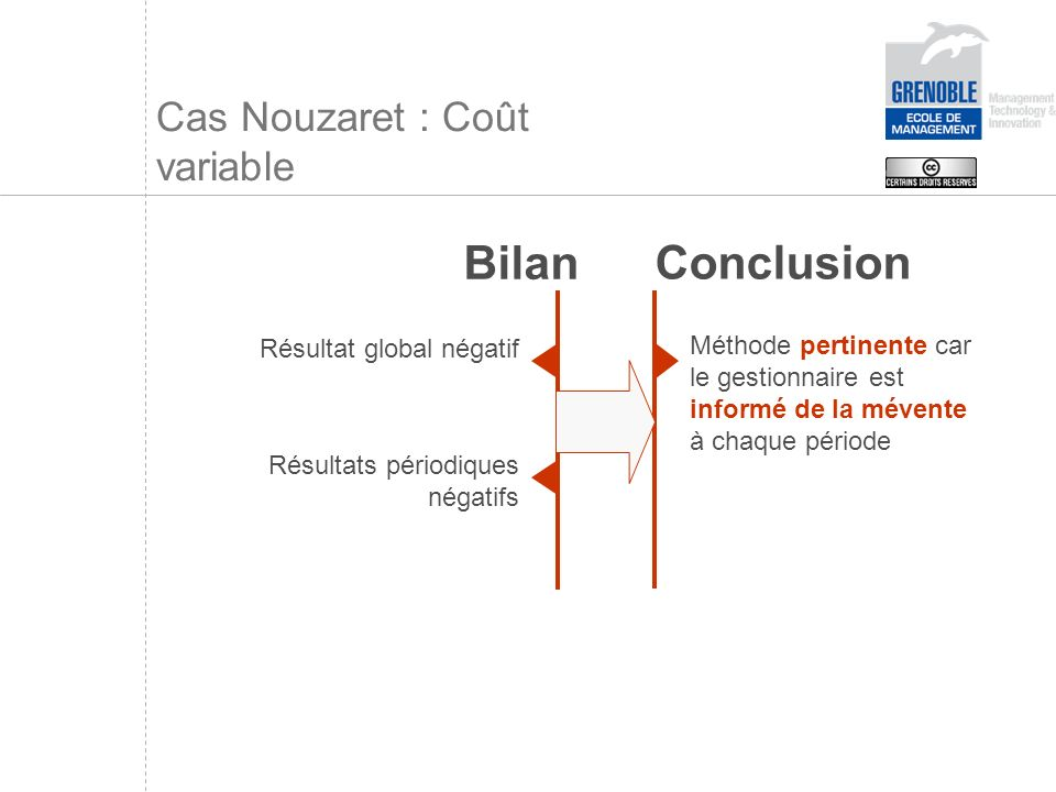 Cas Nouzaret : Coût variable