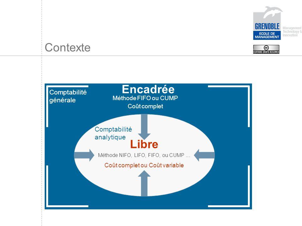 Contexte Encadrée Libre Comptabilité générale Comptabilité analytique