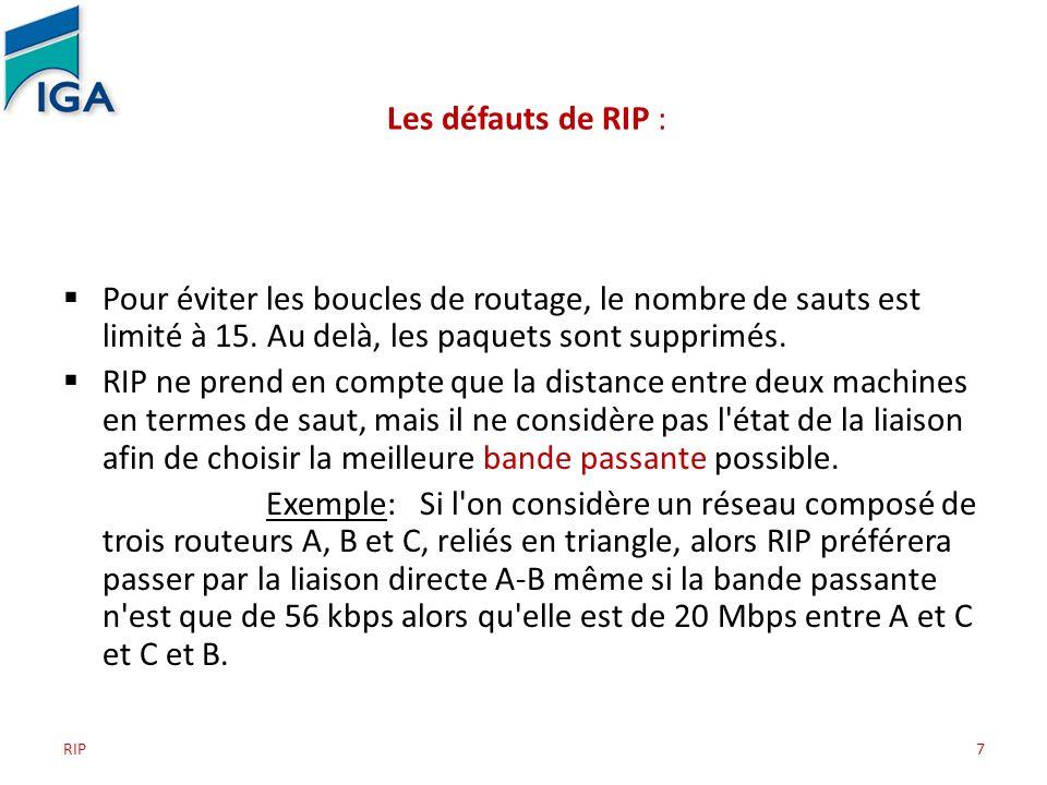 Les défauts de RIP : Pour éviter les boucles de routage, le nombre de sauts est limité à 15. Au delà, les paquets sont supprimés.