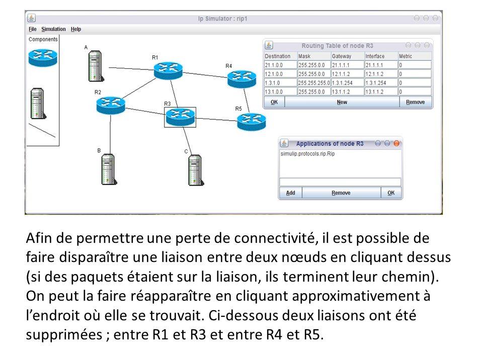 Afin de permettre une perte de connectivité, il est possible de faire disparaître une liaison entre deux nœuds en cliquant dessus (si des paquets étaient sur la liaison, ils terminent leur chemin).