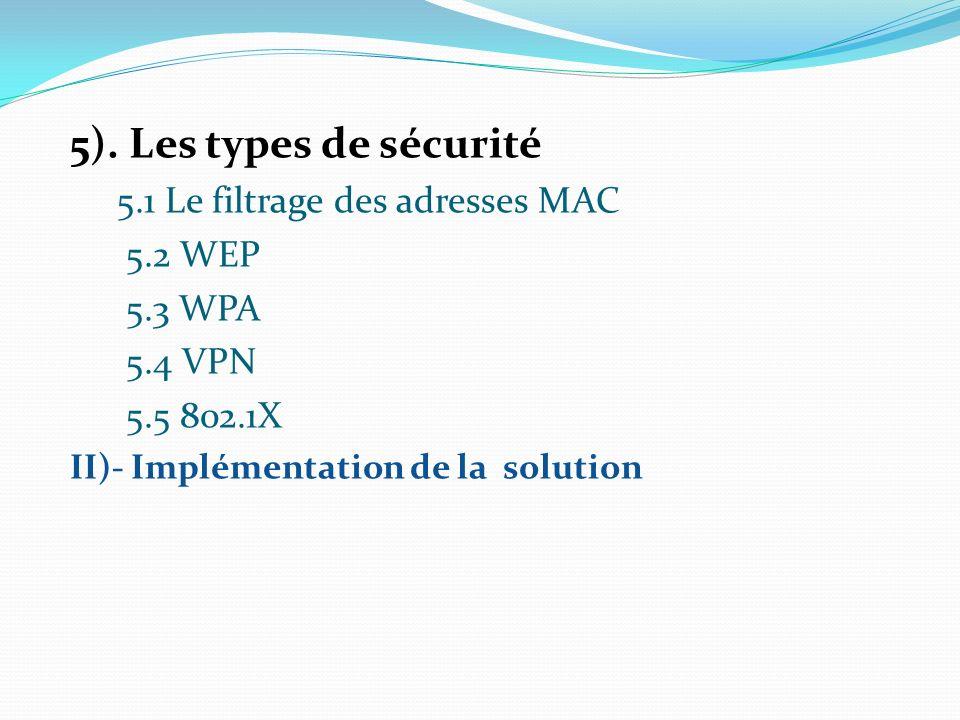 5). Les types de sécurité 5.1 Le filtrage des adresses MAC 5.2 WEP
