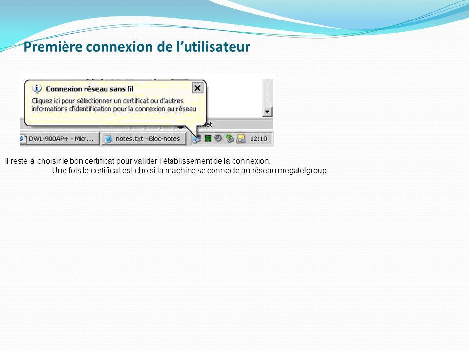 Première connexion de l'utilisateur