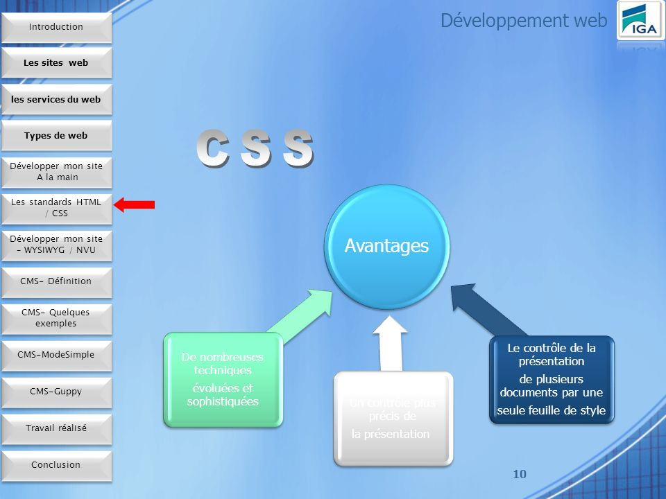 Développement web CSS Introduction Les sites web les services du web