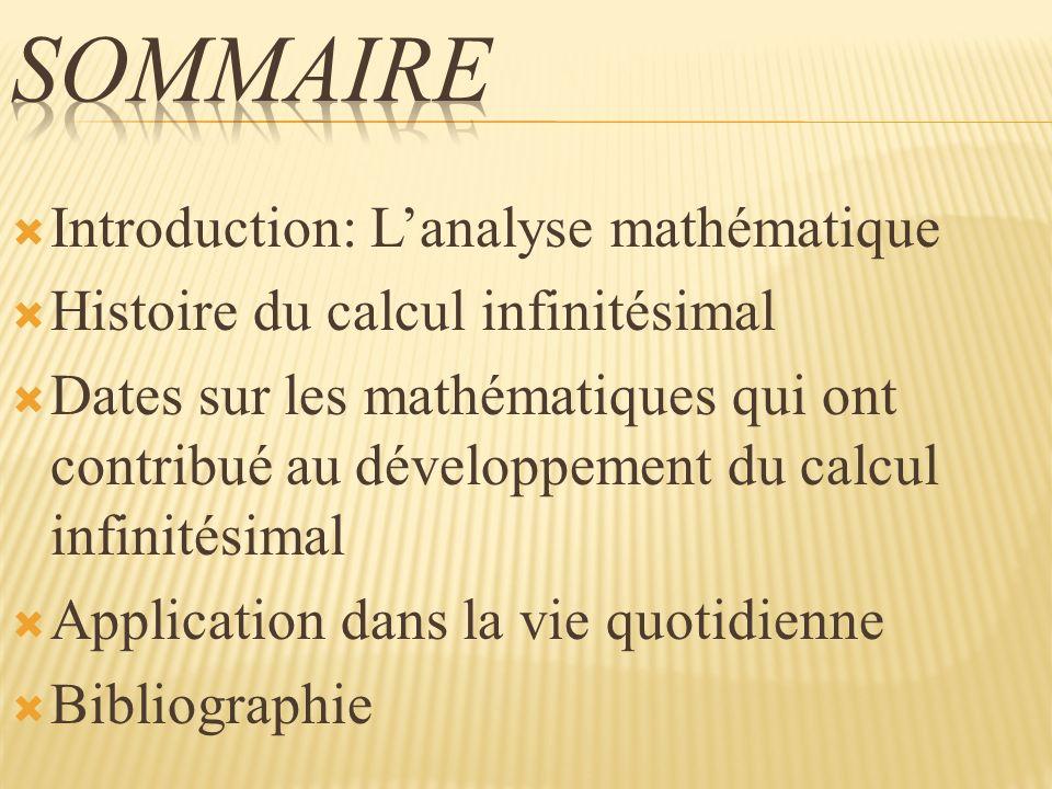 Sommaire Introduction: L'analyse mathématique