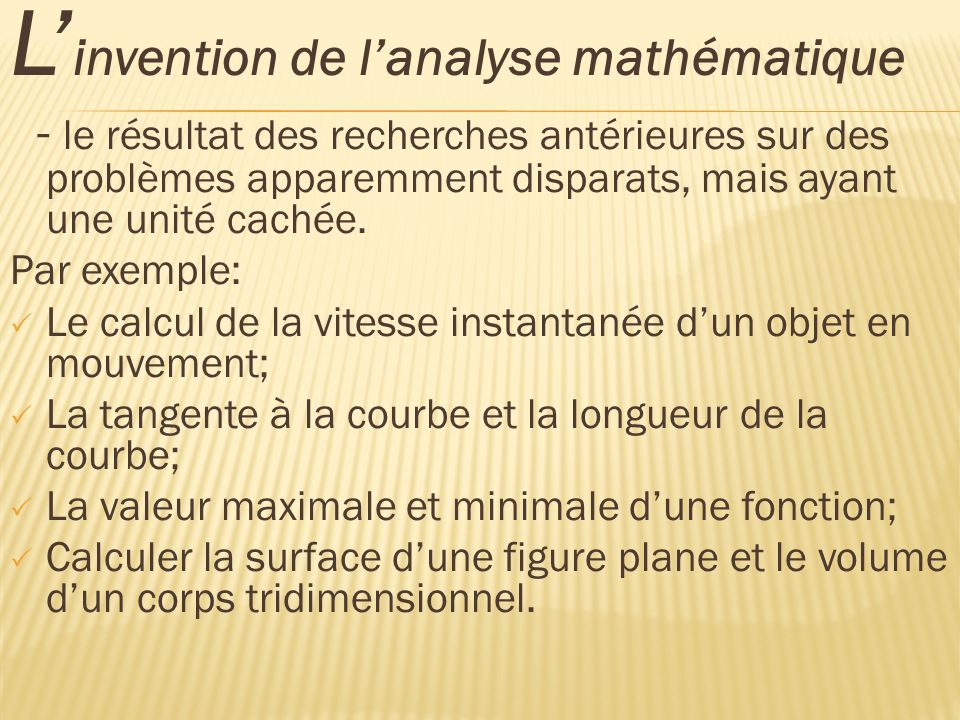 L'invention de l'analyse mathématique
