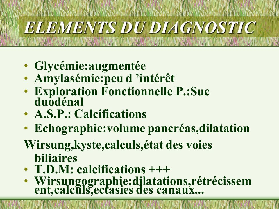 ELEMENTS DU DIAGNOSTIC