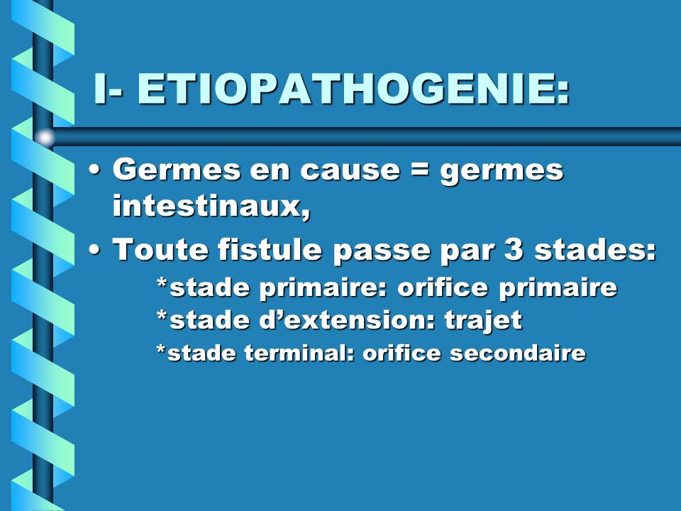 I- ETIOPATHOGENIE: Germes en cause = germes intestinaux,