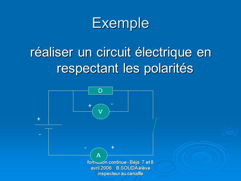 réaliser un circuit électrique en respectant les polarités