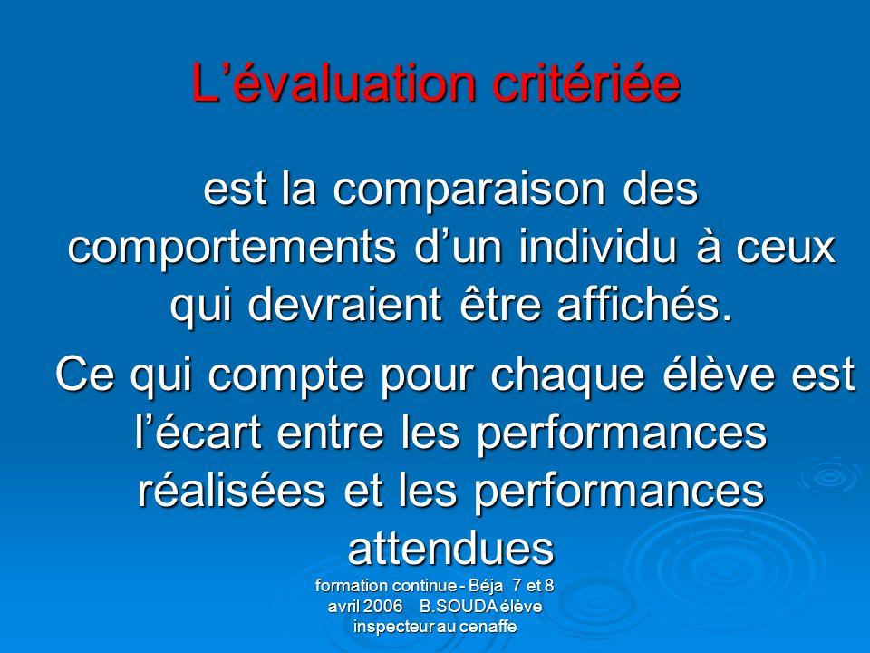 L'évaluation critériée