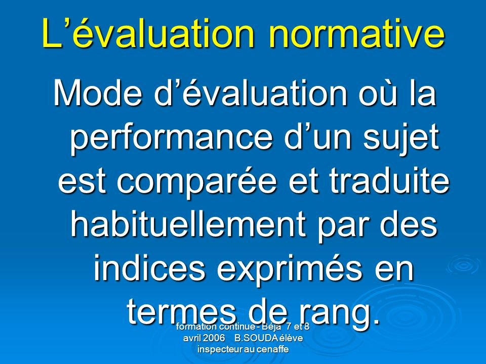 L'évaluation normative