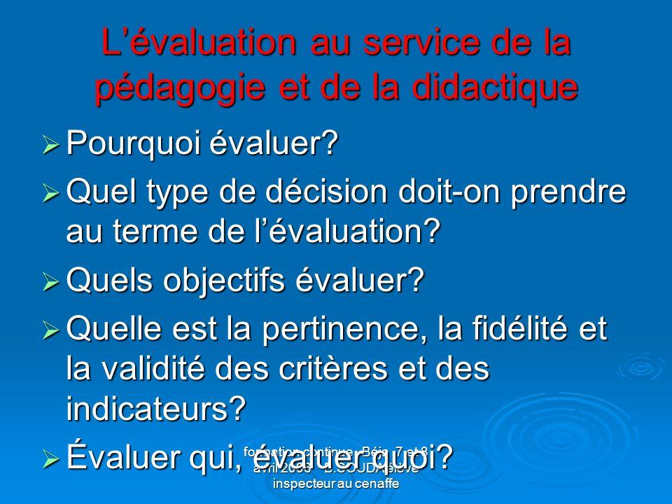 L'évaluation au service de la pédagogie et de la didactique