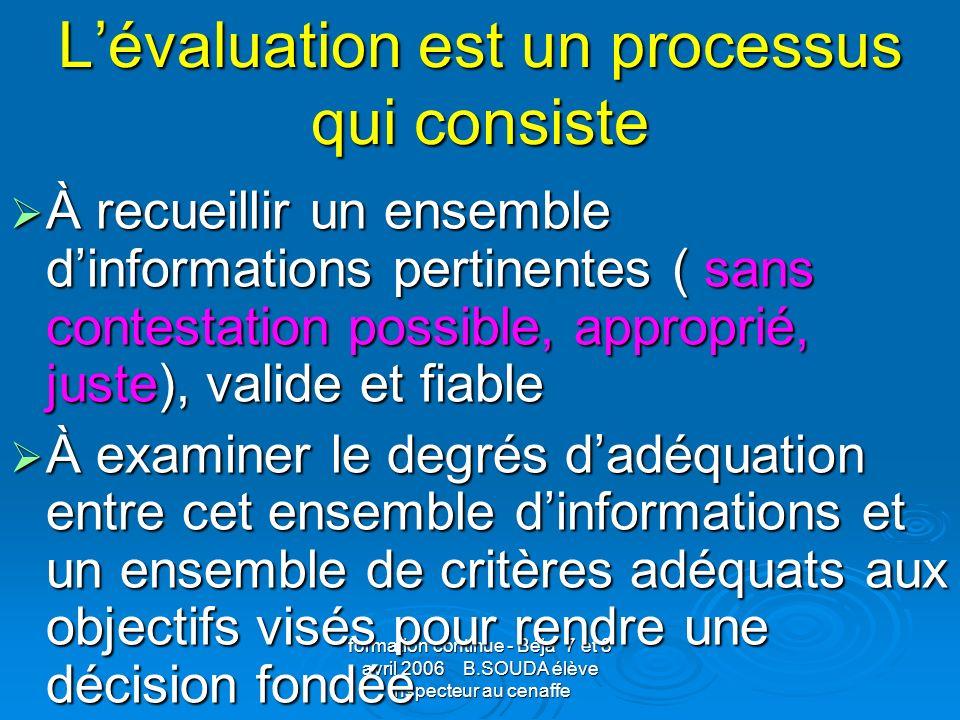 L'évaluation est un processus qui consiste