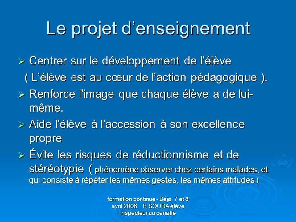 Le projet d'enseignement