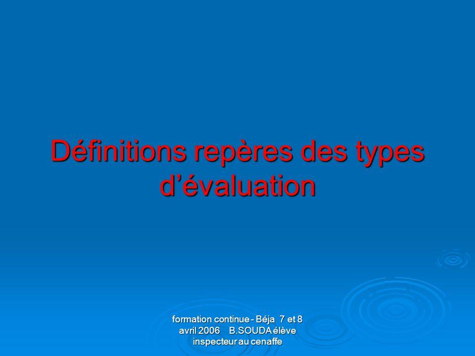 Définitions repères des types d'évaluation
