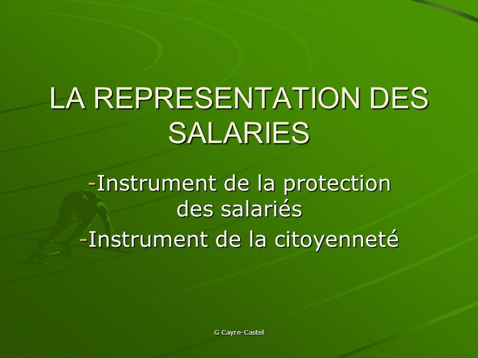 LA REPRESENTATION DES SALARIES
